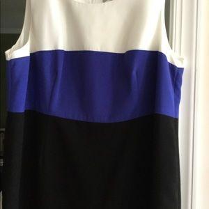 Round neck sleeveless color block dress